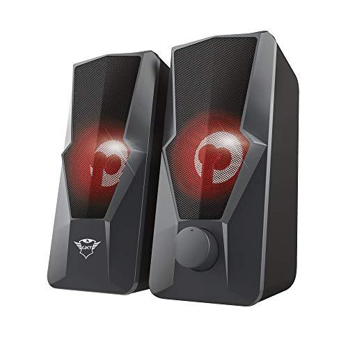 Trust Gaming GXT 610 Argus Enceintes PC, Haut-Parleurs Stéréo2.0 illuminé (20 W, Éclairage clignotant à LED, Alimentation USB, Ordinateur de Bureau et Portable) Noir