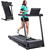 YODIMAN Folding Treadmill Electric Running Machine with 16'' Wide Tread Belt/LCD Display/Cup...