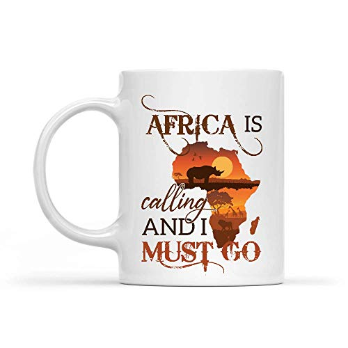 Egoa Mug en Céramique Tasse Voyageur Africa is Calling I Must Go Tasse en...