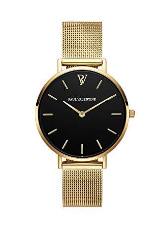 Paul Valentine Damenuhr - Pearl Gold Mesh - Armbanduhr mit schönem Ziffernblatt, kratzfestes Glas, Mesh-Armband in Gold, Uhr für Damen zum Muttertag (32mm)