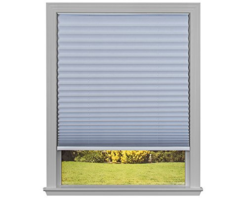Easy Lift Trim-at-Home Cordless Pleated Light Blocking Fabric Shade White, 30 in x 64 in, (Fits windows 19'- 30')