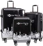 Mochila multiusos 3 conjuntos de carro de la maleta, equipaje duro rodillo caso de viajes conjuntos anidados for el recorrido Carrito for equipaje maleta trolley Vertical Portátil Maleta 360 ° □□ Adec