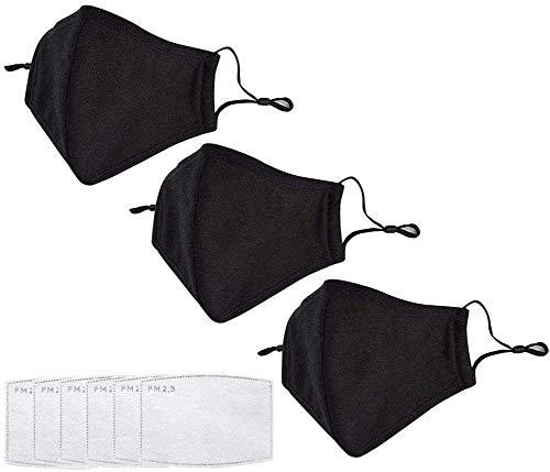 3 pcs Maschere anti-polvere riutilizzabili PM 2.5 anti-polvere lavabile anti-appannamento antibatterico filtro a carboni...