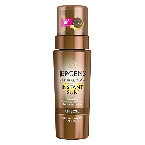 Jergens Natural Glow Instant Sun Body Mousse, Deep Bronze Tan, 6 Ounce Sunless Self-tanner, for a Natural-looking Tan