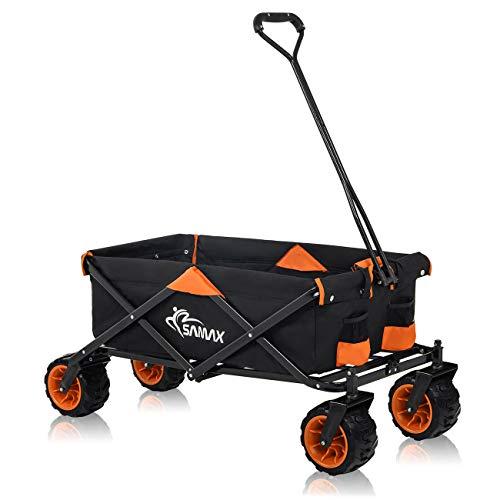 SAMAX Bollerwagen Handwagen Gartenwagen Strandwagen Klappbar Faltbarer Bollerwagen Transportwagen - Schwarz/Orange