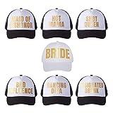 Pop Fizz Designs Bachelorette Trucker Hats I 7 Pack I 1 Bride Hat 6 Bride Tribe Hats | Bachelorette Party Favors Black