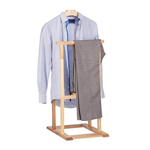 Relaxdays Herrendiener Holz, stummer Diener für faltenfreie Anzüge, Walnuss Kleiderständer HxBxT 102 x 47 x 50 cm, natur