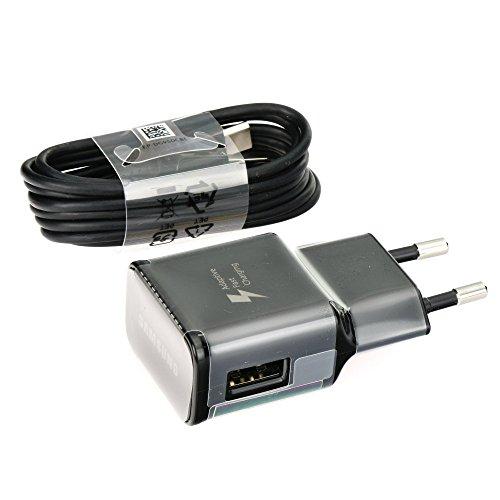 Samsung EP-TA20EBE - Caricatore rapido di tipo C, con cavo di ricarica USB tipo C, per Galaxy S8 S8+ S9 Plus S9+ A3 A5 A7 2017 USB-C