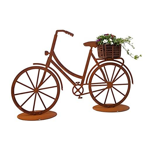Rerum & Consilium Fahrrad mit Korb Gartendeko aus Rost   100 x 65 cm   2 mm Stahl   Stehfigur für den Garten in Edelrost-Optik   Deko für Jede Jahreszeit: Herbstdeko, Sommerdeko oder Frühlingsdeko
