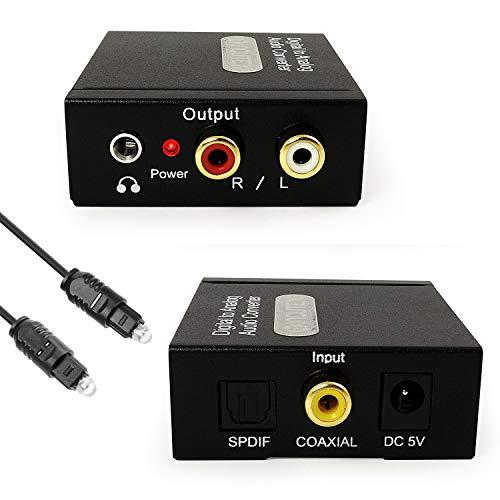 Incutex Audio Konverter Wandler Digital (Toslink und Coaxial) zu Analog (Cinch, Klinke) Audiowandler Decoder mit Netzteil & Toslink Kabel 1m