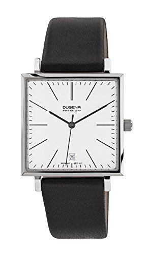 Dugena Unisex Quarz-Armbanduhr, Saphirglas, Lederarmband, Dessau Carrée, Schwarz/Silber, 7000140
