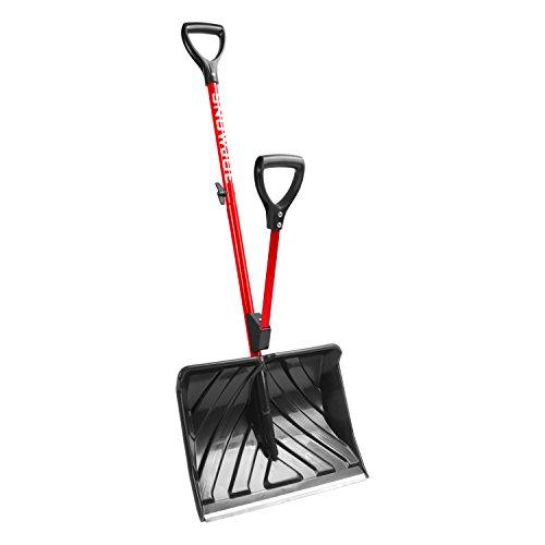 Snow Joe SJ-SHLV01-RED Shovelution Strain-Reducing Snow Shovel | 18-Inch | Spring Assisted Handle (Red)
