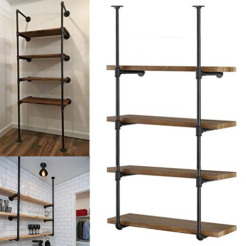 Yuanshikj 2Pc (56' tall 12'deep 3/4') Industrial Wall Mount iron Pipe Shelf Shelves Shelving Bracket Vintage Retro...