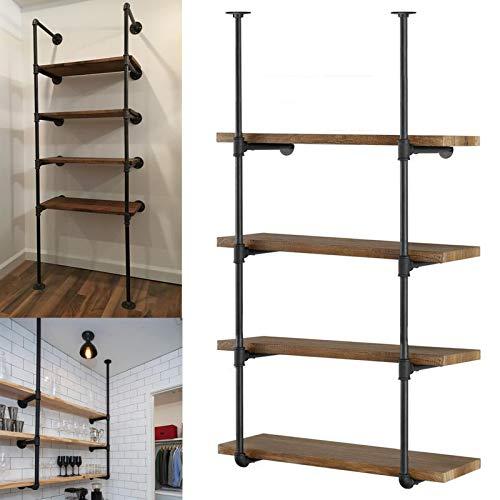 Yuanshikj 2Pc (56' tall 12'deep 3/4') Industrial Wall Mount iron Pipe Shelf Shelves Shelving Bracket Vintage Retro...