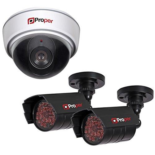 Proper - Set di videocamera di sorveglianza finta con 1 cupola e 2 videocamere IR