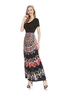 Fabric Material: 95% Polyester, 5% Spandex. Material is soft, flowy, lightweight, soft and stretchy, the print is vibrant Features: Round neck,short sleeves,two side pockets,floor length,elastic at waist,not lined,maxi dresses,casual basic style. Occ...