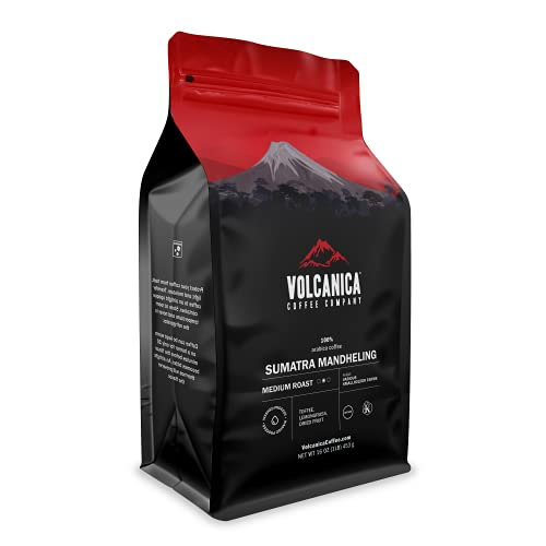 Volcanica Sumatra Mandheling Coffee Beans, Medium Roast, Whole Bean, Fresh Roasted, 16-ounce