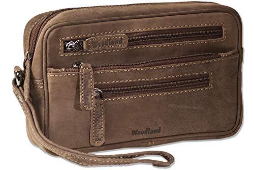 Woodland® Praktische Handgelenktasche für den Mann aus naturbelassenem Büffelleder in Dunkelbraun/Taupe