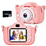 Te-Wai Kids Digital Camera for Girls LCD HD 2.0 Inches Screen Gifts for Boys ,Children Toddler HD Video Camera Mini Camcorder Gift for 3-12 Years Old Child Selfie Camera with16GB Memory Card (Pink)