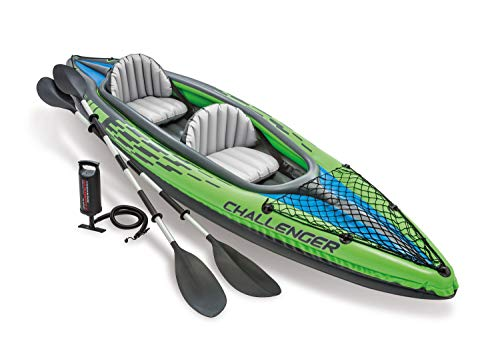 Intex Challenger K2 Kayak, 2-Person Inflatable Kayak Set with Aluminum Oars and High Output Air-Pump, Grey/Blue (68306NP)