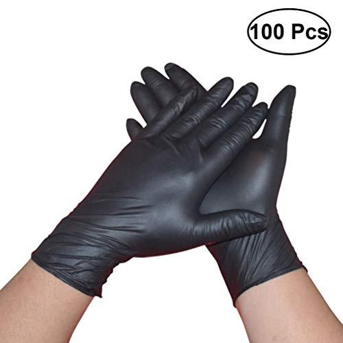 Hemoton 100 PCS Disposable Latex Nitrile Gloves Powder Free Medical Gloves - Examination Tattoos Piercing Gloves (M Black)