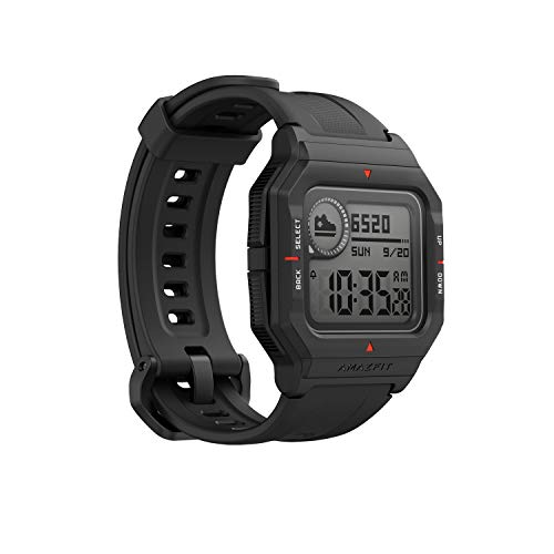 """Amazfit Neo Fitness Retro Smartwatch with Real-Time Workout Tracking, Heart Rate and Sleep Monitoring, 28-Day Battery Life, Smart Notifications, 1.2"""" Always-On Display, Water Resistant, Black"""