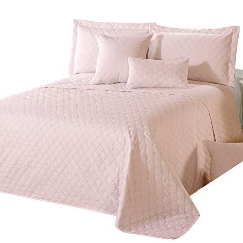 Delindo Lifestyle Tagesdecke Bettüberwurf Premium ROSA, für Doppelbett, einfarbig für Schlafzimmer, 220x240 cm