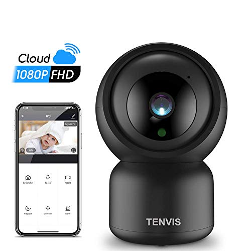 TENVIS 1080P FHD Telecamera di Sorveglianza movimento Wifi,videocamera IP Interno Wireless con Visione Notturna,Audio Bidirezionale Telecamera compatibile con Alexa,Baby Monito