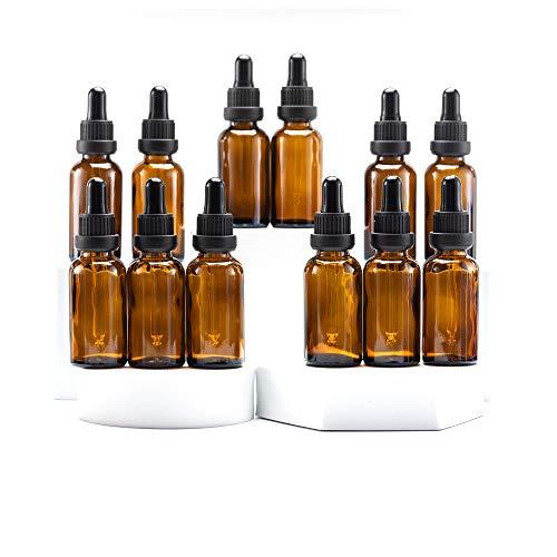 Yizhao Marrone Bottiglie Contagocce Vetro 30 ml, con Pipette Contagocce Vetro, per Laboratorio,Olio Essenziale, Aromaterapia 12 Pcs