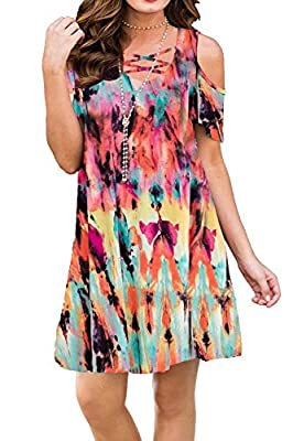 ✿ Material:Polyester and Spandex.Skin friendly fabric, stretchy, breathable and comfortable to wear. ✿ Fashion Design: Criss cross neckline, short sleeve,loose fit, a-line and cold shoulder, soft and gorgeous. ✿ Size and Colors: Casual tunic top dres...