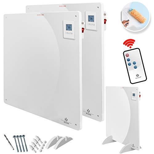 KESSER® 2x Infrarotheizung 550 Watt mit Fernbedienung ✓ LCD-Display Digital ✓ Timer ✓ Wandheizung ✓ Infrarot ✓ Heizung ✓ Heizkörper | Heizpaneel | Inkl.Standfüßen NEU |