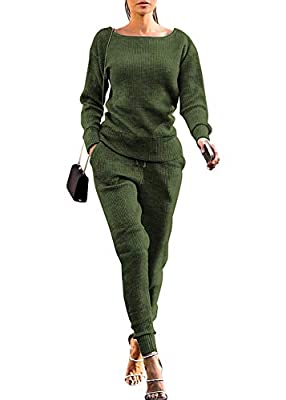 Material: Polyester, Soft fabric make you comfortable and warm. Feature: Loose Long Sleeve Pullover Top with Adjustable Drawstring, Athletic Long Pant with Sides Pockets. Include: 2 pieces tracksuit sweatsuit set including a matching a same color swe...
