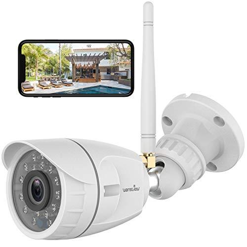 Telecamera Wifi Esterno, Wansview 1080P Videocamera Sorveglianza Wifi con Visione Notturna, Rilevamento di Movimento, Accesso Remoto, Funziona con Alexa W4 Bianco