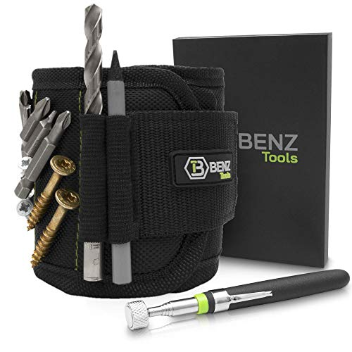 BENZ Tools® Magnetarmband Handwerker inkl. Magnetstab zum halten von Schrauben und Nägel I...