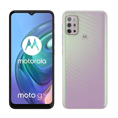"Motorola moto g10 (6,5""-Display, 48-MP-Kamera, 4/64 GB, 5000-mAh, Dual-SIM, Android 11) Sakura Pearl, inkl. Schutzcover + KFZ-Adapter [Exklusiv bei Amazon]"