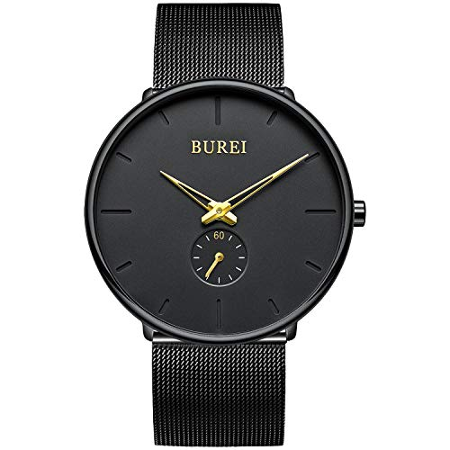 BUREI Uhren Herren Analog Quarz Armbanduhr mit Edelstahlarmband für Herrenuhr Ultradünne Schwarze Uhr Herren Wasserdicht(Goldener Zeiger)