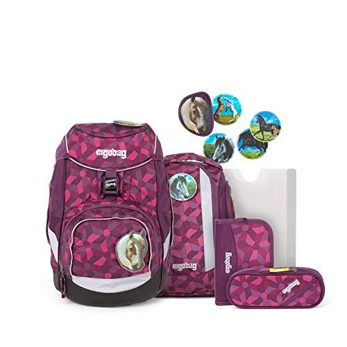 ergobag Unisex-Kinder Pack-Set Rucksack, NachtschwärmBär, Ergonomischer Schulrucksack, Set 6-teilig, 20 Liter, Lila Blumen, Schwarz (Nightcrawlbear)