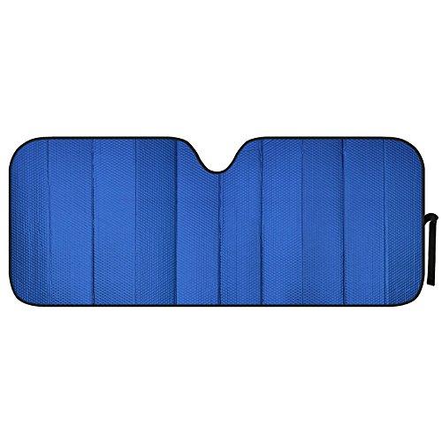 Blue Front Windshield Shade-Jumbo Accordion Folding Auto Sunshade for Car Truck SUV-Blocks UV Rays Sun Visor Protector-Keeps Your Vehicle Cool-66 x 27 Inch