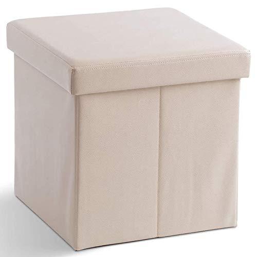 Zedelmaier Sitzhocker Sitzwürfel mit Stauraum Fußbank Truhen Aufbewahrungsbox faltbar belastbar bis 300 kg, Deckel abnehmbar, 38 x 38 x 38 cm (Weiß)
