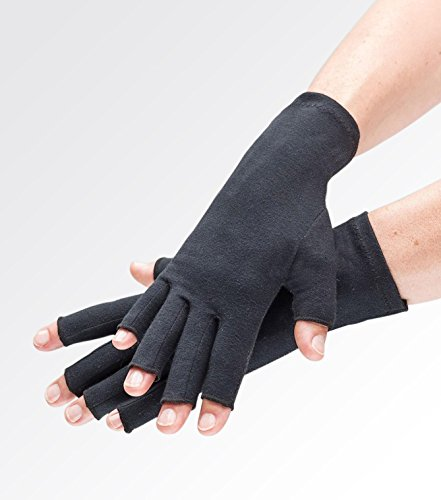 Compression Gloves for Arthritis Pain Relief. Comfy Black Fingerless Gloves for Women or Men. Joint Support for Rheumatoid and Osteoarthritis, Raynauds, Lymphedema, Dupuytrens. Daily use eg Typing -S