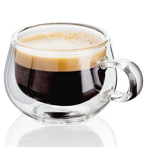 Judge - Tazza per caffè Espresso in Vetro, Trasparente, 75ml, Set di 2