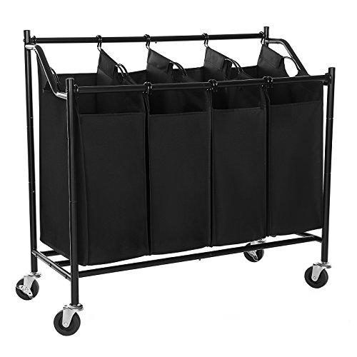 SONGMICS Heavy-Duty 4-Bag Rolling Laundry Sorter Storage...