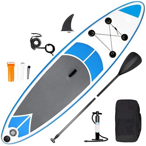 SMOOL Planche de Surf Gonflable ISUP - 145 kg d'épaisseur - Kit Complet - avec Pompe Haute Pression, pagaie, Sac à Dos, kit de réparation (Bleu-Gris 305cm)