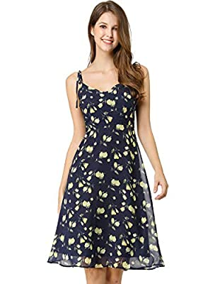Spaghetti Strap, V Neck, Self Tie Shoulder, Fully Lined, Smocked Back, Floral Prints, Hidden Side Zipper, Midi Dress Casual Swing Dress: It fit and flare design make it flowy well so it hides the hips and tummy nicely Occasion: daily, travel, holiday...