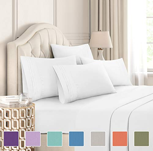 King Size Sheet Set - 6 Piece Set - Hotel Luxury Bed Sheets - Extra Soft - Deep Pockets - Easy Fit - Breathable & Cooling Sheets - Wrinkle Free - Comfy - White Bed Sheets - Kings Sheets - 6 PC