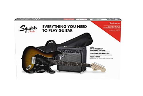 Fender Squier Affinity Stratocaster LRL HSS Brown Sunburst + Frontman 15G + Electric Guitar Case
