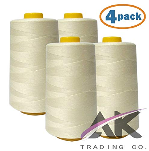AK Trading 4-Pack Ivory All Purpose Sewing Thread Cones (6000 Yards Each) of High Tensile Polyester Thread Spools for Sewing, Quilting, Serger Machines, Overlock, Merrow & Hand Embroidery.