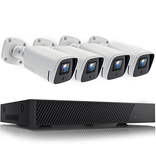 5MP Kit Videosorveglianza Esterno PoE, 8 Canali 4 Telecamera Sorveglianza IP PoE, 5MP 8CH Videosorveglianza H.265+, Rilevazione Movimento, 30M Visione Notturna, Impermeabile, Senza Disco Rigido