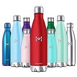 HOMPO Bottiglia Acqua in Acciaio Inox - Borraccia Termica Isolamento Sottovuoto a Doppia Parete,Privo di BPA & Leakproof,Borracce per Bambini, Bici, Palestra(Rosso,500ml)