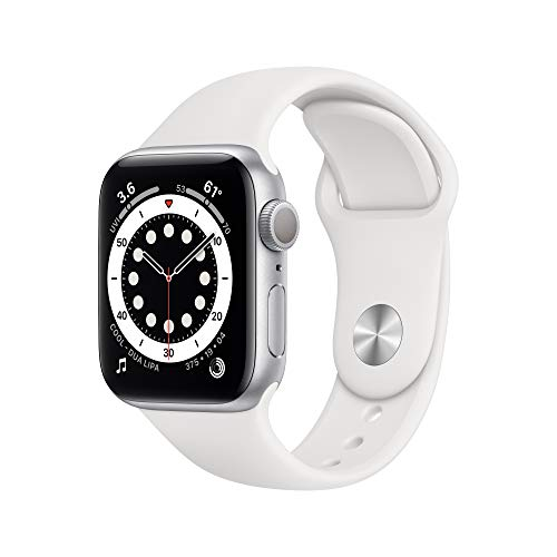 New Apple Watch Series 6 (GPS, 40mm) - Silver Aluminum Case with White Sport Band